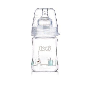 Стеклянная бутылочка  LOVI 150 ml - Diamond Glass - Retro boy