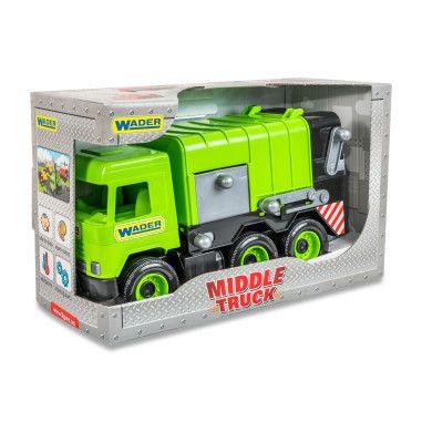 """Авто """"Middle truck"""" мусоровоз (зеленый) в коробке"""