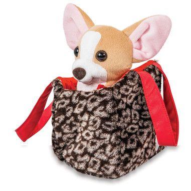Собачка чихуахуа коричневий з сумочкою в сукні