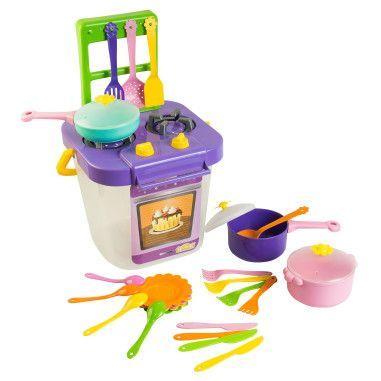 Набор игрушечной посуды столовый Ромашка с плитой 29 элементов