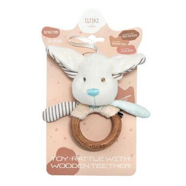 Іграшка - брязкальце з дерев'яним гризунцем ельфік Пуффі, ELFIKI