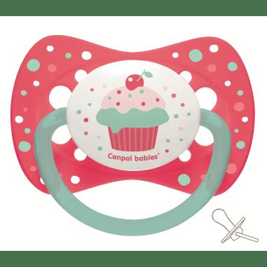 Canpol babies Пустышка силиконовая симетричная 0-6 м-цев Cupcake - розовая