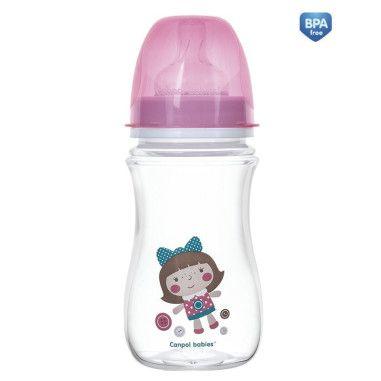Пляшка з широким отвором антиколікова Easystart - Toys 240 мл рожева лялька