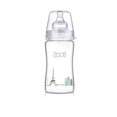Пляшечка скляна LOVI 250 ml - Diamond Glass - Retro boy