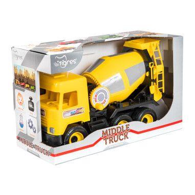 """Авто """"Middle truck"""" бетонозмішувач (жовтий) в коробці"""