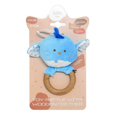Іграшка - брязкальце з дерев'яним гризунцем пташка Піпо, ELFIKI
