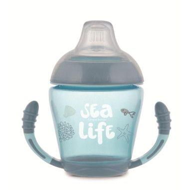Canpol babies Кружка непроливайка з м'яким силіконовим носиком 230 мл Sea Life - сіра