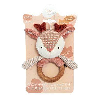 Іграшка - брязкальце з дерев'яним гризунцем косуля Рубі, ELFIKI
