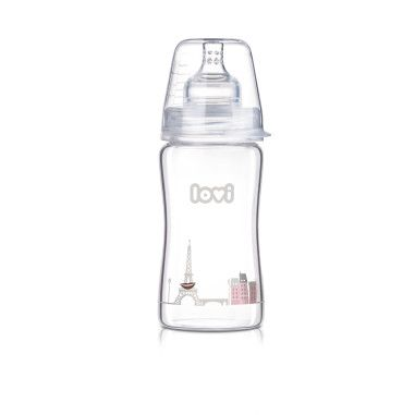 Пляшечка скляна LOVI 250 ml - Diamond Glass - Retro girl