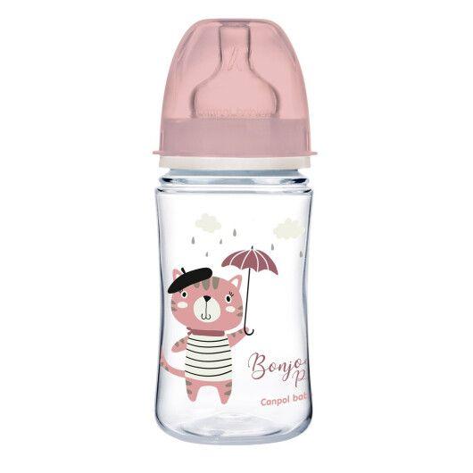 Canpol babies Пляшка антиколікова з широким отвором 240 мл PP Easystart Bonjour Paris рожева