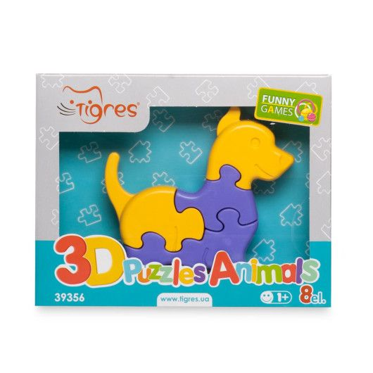 Іграшка розвиваюча: 3D пазли-Тваринки (1шт.) - 8 ел. - 2