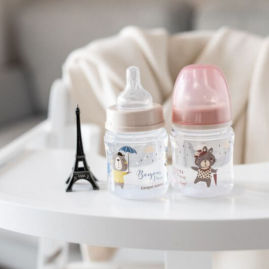 Canpol babies Пляшка антиколікова з широким отвором 120 мл PP Easystart Bonjour Paris рожева - 18