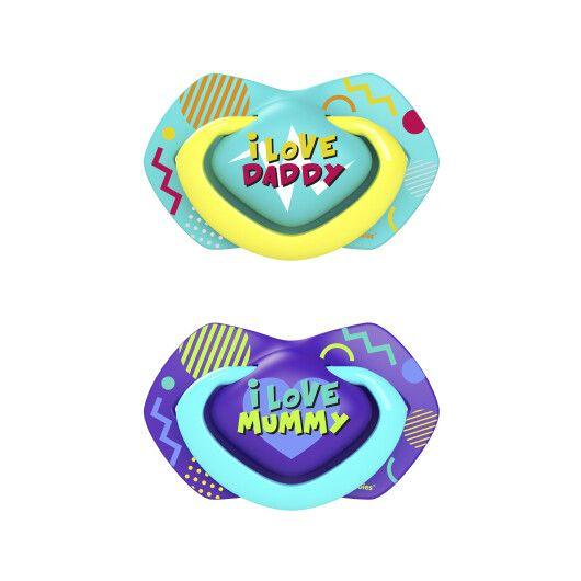 Canpol babies Пустушка силіконова симетрична 18+ міс NEON LOVE 2 шт. - блакитна - 2