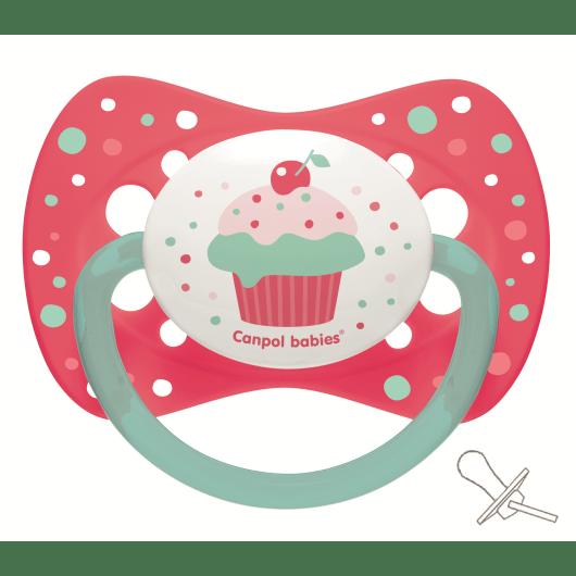 Canpol babies Пустышка силиконовая симетричная 18+ м-цев Cupcake - розовая