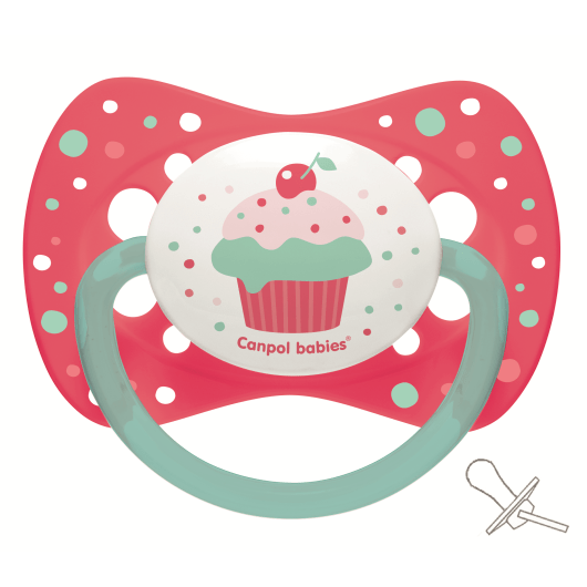 Canpol babies пустушка  силіконова симетрична 6-18 м-ців Cupcake - рожева