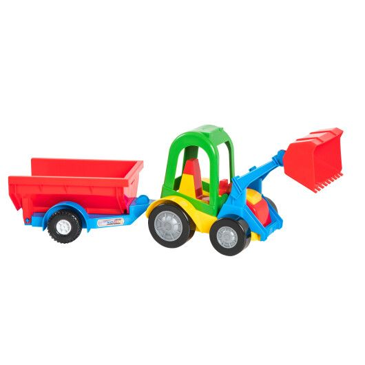 Трактор-багги з ковшем і причепом