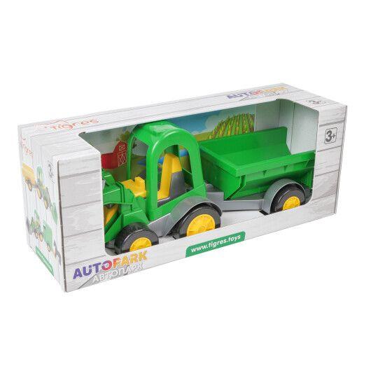 Трактор-багги з ковшем і причепом в коробці