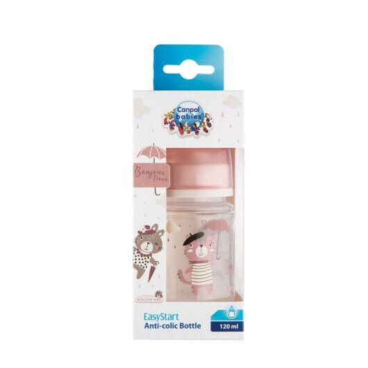 Canpol babies Пляшка антиколікова з широким отвором 120 мл PP Easystart Bonjour Paris рожева - 7