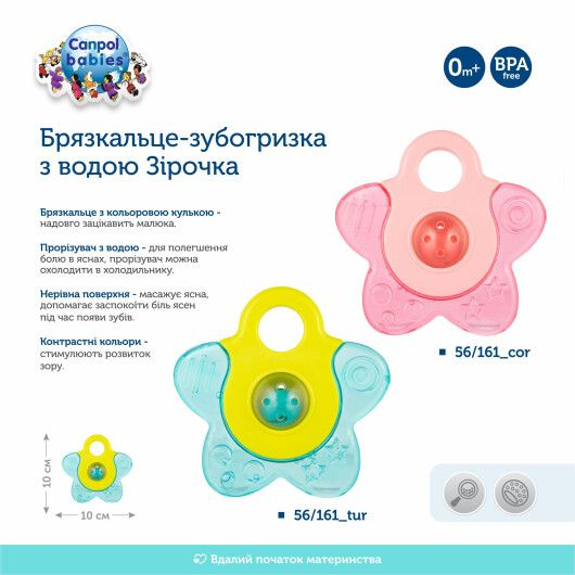 Canpol babies Брязкальце-зубогризка з водою Зірочка - бірюзове - 4