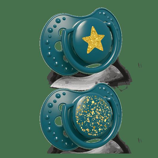LOVI Пустушка силіконова динамічна 18+ м-ців 2 шт. Stardust - зелена - 2