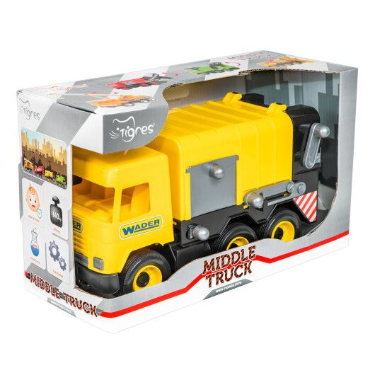 """Авто """"Middle truck"""" сміттєвоз (жовтий) в коробці - 2"""