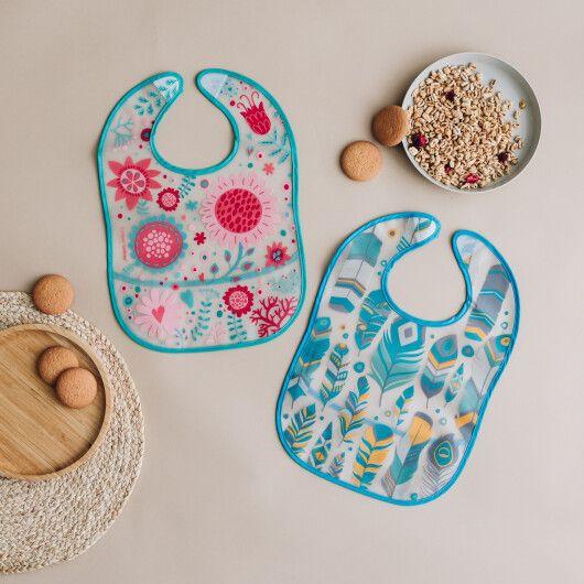 Canpol babies Слинявчик пластмасовий з кишенькою Wild Nature -  бірюзовий - 3
