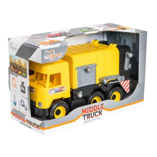 """Авто """"Middle truck"""" сміттєвоз (жовтий) в коробці"""