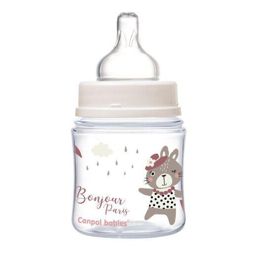 Canpol babies Пляшка антиколікова з широким отвором 120 мл PP Easystart Bonjour Paris рожева - 5