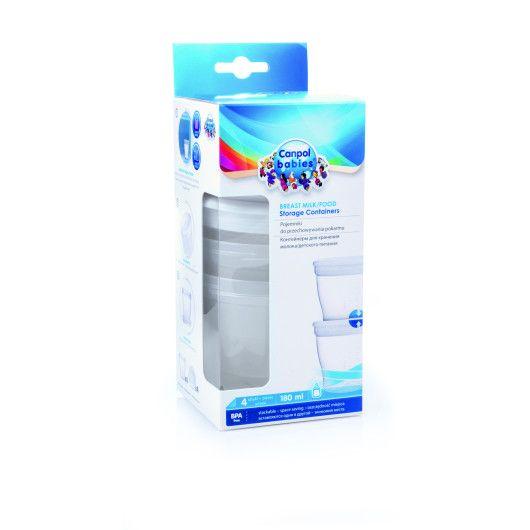 Контейнер для зберігання молока/їжі 4 шт. (180 мл)