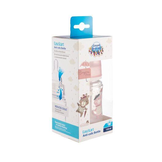 Canpol babies Пляшка антиколікова з широким отвором 120 мл PP Easystart Bonjour Paris рожева - 6