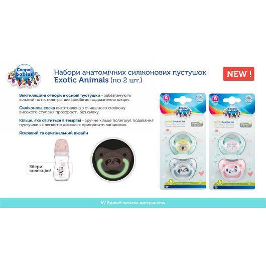 Canpol babies Пустушка силіконова анатомічна 0-6 м-ців Exotic Animals 2 шт. - сіра - 3