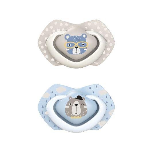 Canpol babies Пустушка силіконова симетрична 6-18 міс BONJOUR PARIS 2 шт. - блакитна - 2