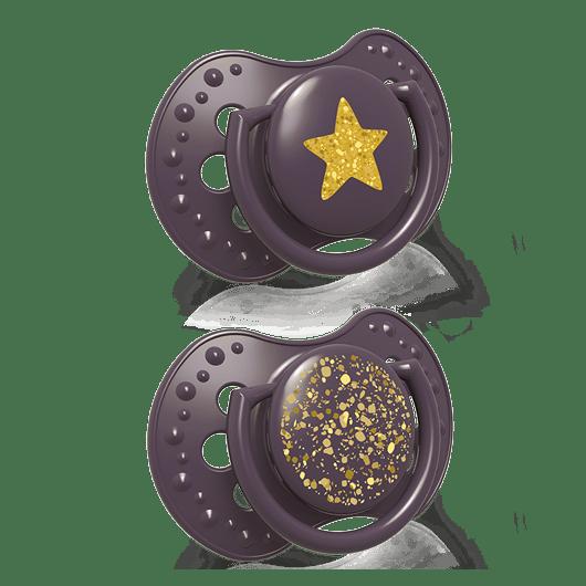 LOVI Пустушка силіконова динамічна 18+ м-ців 2 шт. Stardust - фіолетова - 2