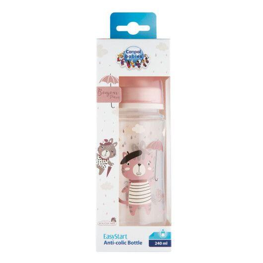 Canpol babies Пляшка антиколікова з широким отвором 240 мл PP Easystart Bonjour Paris рожева - 6