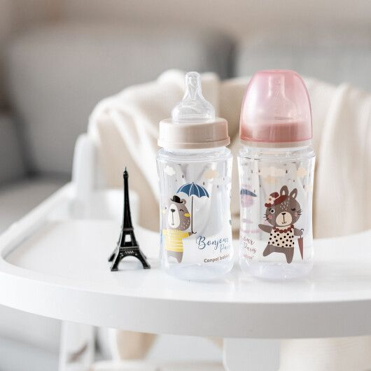 Canpol babies Пляшка антиколікова з широким отвором 240 мл PP Easystart Bonjour Paris рожева - 15