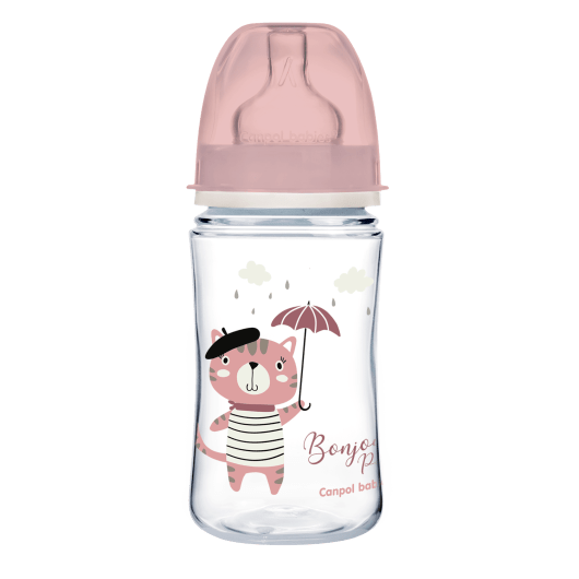Canpol babies Пляшка антиколікова з широким отвором 240 мл PP Easystart Bonjour Paris рожева - 4