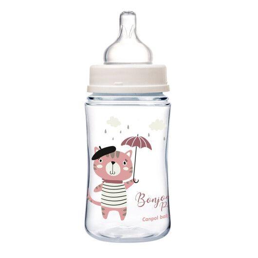 Canpol babies Пляшка антиколікова з широким отвором 240 мл PP Easystart Bonjour Paris рожева - 3