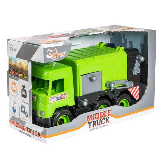 """Авто """"Middle truck"""" сміттєвоз (зелений) в коробці"""