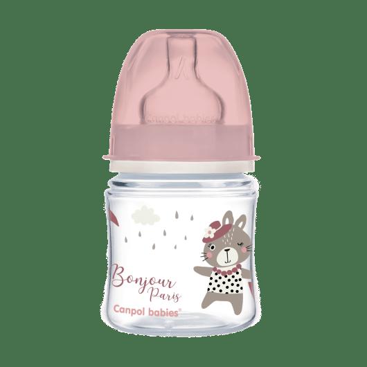 Canpol babies Пляшка антиколікова з широким отвором 120 мл PP Easystart Bonjour Paris рожева - 2
