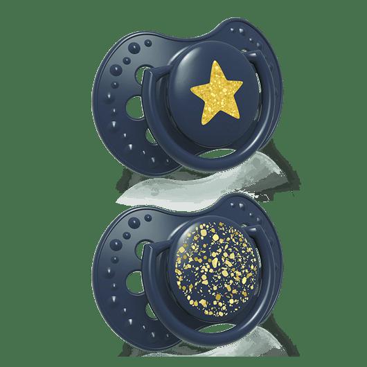 22/895_blue LOVI Пустушка силіконова динамічна 18+ м-ців 2 шт. Stardust - синя - 2