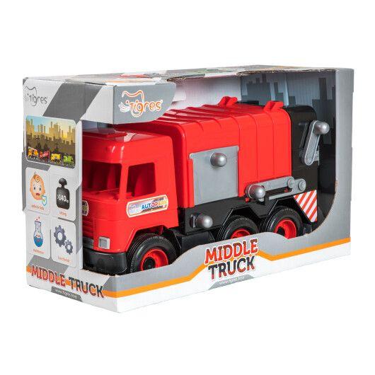 """Авто """"Middle truck"""" сміттєвоз (червоний) в коробці"""
