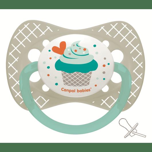 Canpol babies Пустушка силіконова симетрична 0-6 м-ців Cupcake - сіра