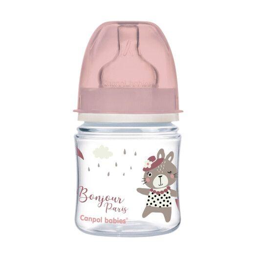 Canpol babies Пляшка антиколікова з широким отвором 120 мл PP Easystart Bonjour Paris рожева